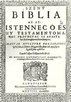 A Szenci Molnár Albert által javított hanaui biblia címlapja